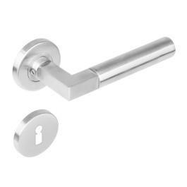 Deurkruk Bau-Stil rond rozet met sleutelgat