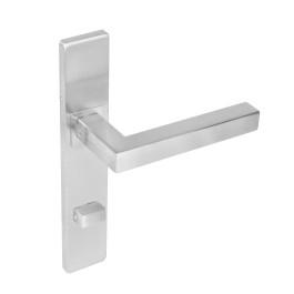 Deurkruk Vierkant op rechthoekig schild met toilet-/badkamersluiting 72 mm rvs geborsteld
