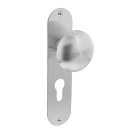 Knop op schild plat sleutelgat 56 mm rvs geborsteld