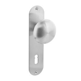 Knop op schild plat sleutelgat 72 mm rvs geborsteld