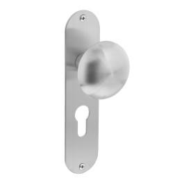 Knop op ovaal schild plat profielcilindergat 55 mm rvs geborsteld