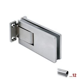 RVS glasdeurscharnier 90°, glas/wand voor glasdikte 8 - 12 mm
