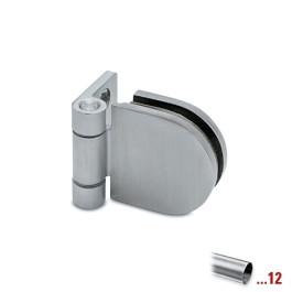 RVS glasdeurscharnier, glas/wand voor glasdikte 6 - 10 mm