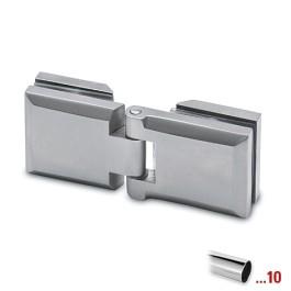 RVS glasdeurscharnier gepolijst, glas/glas voor glasdikte 6 - 10 mm