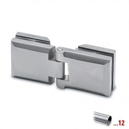 RVS glasdeurscharnier, geborsteld, glas/glas voor glasdikte 6 - 10 mm