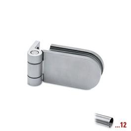 RVS glasdeurscharnier, geborsteld, glas/wand voor glasdikte 6 - 10 mm