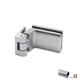 RVS glasdeurscharnier 90°, glas/wand voor glasdikte 6 - 10 mm
