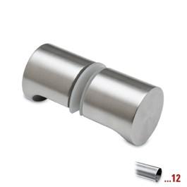 RVS glasdeurknop type D, dubbelzijdig voor glasdikte 8 - 12 mm