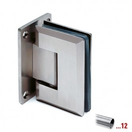 RVS glasdeurscharnier 90°, glas/wand voor glasdikte 8 - 12 mm