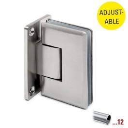 RVS glasdeurscharnier 90°, glas/wand, verstelbaar voor glasdikte 8 - 10 mm