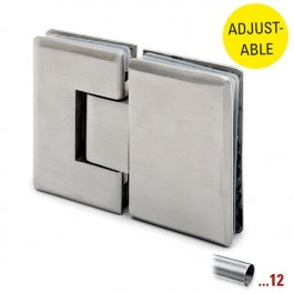 RVS glasdeurscharnier 90°, glas/glas, verstelbaar voor glasdikte 8 - 10 mm