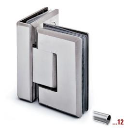 RVS glasdeurscharnier 90°,geborsteld, glas/glas voor glasdikte 8 - 12 mm