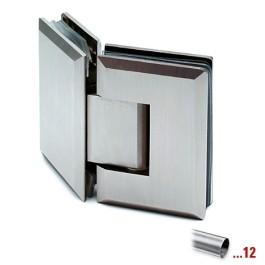 RVS glasdeurscharnier 135°, geborsteld, glas/glas voor glasdikte 8 - 12 mm