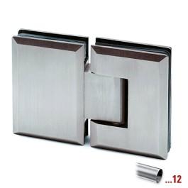 RVS glasdeurscharnier 180°, glas/glas voor glasdikte 8 - 12 mm