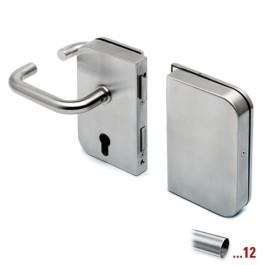 RVS glasdeurslotkast type E, met krukken en tegenkast, draairichting links voor glasdikte 8 - 12 mm