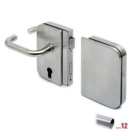 RVS glasdeurslotkast type D met krukken en tegenkast, draairichting rechts voor glasdikte 8 - 12 mm