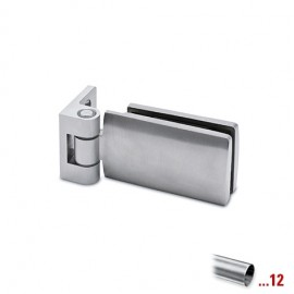 RVS glasdeurscharnier 90°, glas/wand voor glasdikte 6 - 10 mm