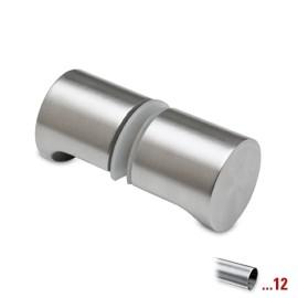 Glasdeurknop type D, dubbelzijdig voor glasdikte 8 - 12 mm - Chroom design