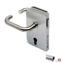 RVS glasdeurslotkast type C, met krukken, draairichting links voor glasdikte 8 - 12 mm