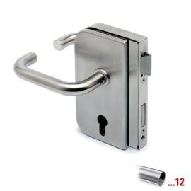 RVS glasdeurslotkast type B met krukken, draairichting rechts voor glasdikte 8 - 12 mm