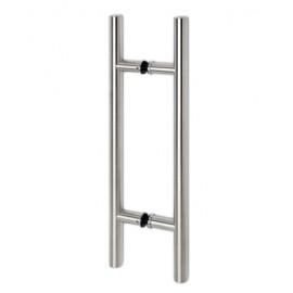 RVS deurgreep type E, dubbelzijdig, Ø 25,4 mm, L 700 mm, H 500 mm voor glas / hout 8 - 40 mm